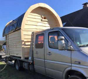 Sauna im Garten Transporter